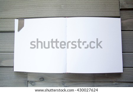 Blank Modern Book Template on a table - stock photo