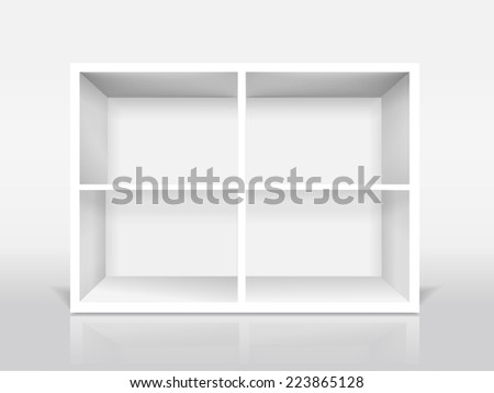 blank modern bookcase isolated on white background - stock photo