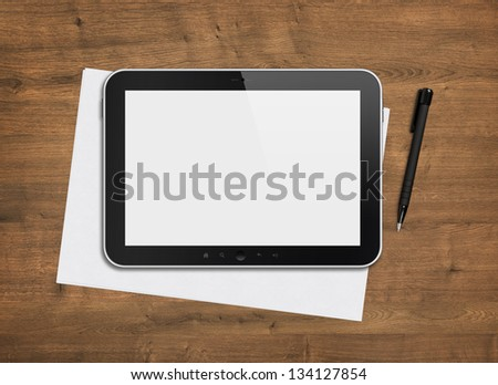 Blank modern digital tablet with papers and pen on a wooden desk. Top view. High quality detailed graphic collage. - stock photo