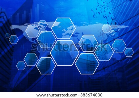 Blank modern virtual technology screen on map graph and city tower, Elements of this image furnished by NASA - stock photo