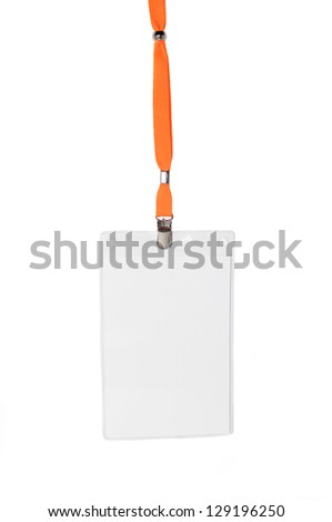 blank name tag holder with orange cord isolated on white background - stock photo