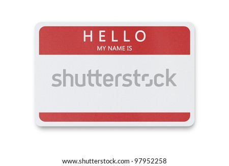 Blank name tag isolated on white background with clipping path - stock photo
