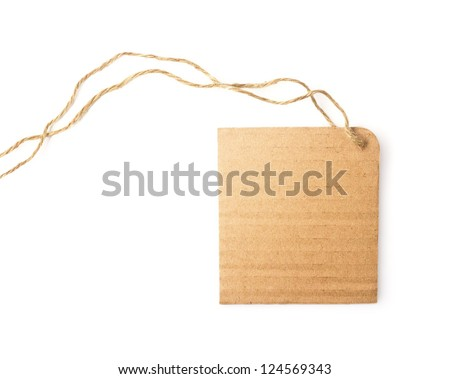 blank natural cardboard label on white background