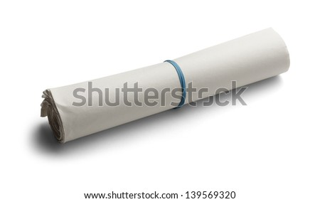 Blank News Paper Rolled up with Rubber Band Isolated on White Background. - stock photo