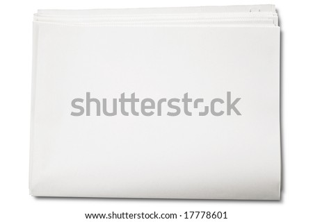 Blank newspaper on white - with clipping path - stock photo