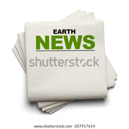 Blank Newspaper with Earth News at Top Isolated on White Background. - stock photo