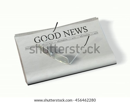 blank newspaper with the headline - Good News - 3d rendering