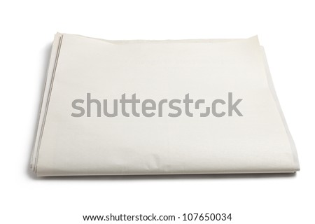 Blank Newspaper with white background - stock photo