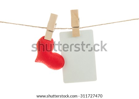 Blank note and red hearts hanging on rope ,valentine background - stock photo