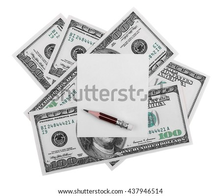 blank note book page and money, 100 hundred dollars and pencil, isolated on white background, with clipping path - stock photo