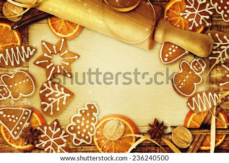 Blank note for recipes of christmas cakes. - stock photo