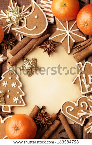 Blank note for recipes of christmas cookies or christmas greeting card. christmas frame background - stock photo