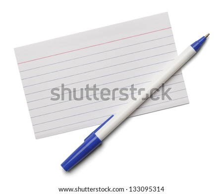 Blank note index card with blue pen isolated on a white background. - stock photo