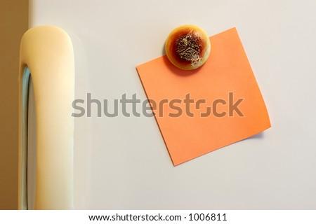 Blank note on fridge. See portfolio for more - stock photo