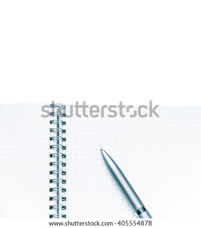 Blank note pad and pen - stock photo