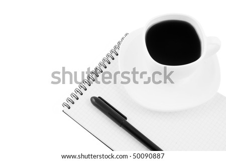 Blank note pad, pen, cup of coffee isolated - stock photo