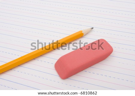 Blank note pad with pencil and eraser - stock photo