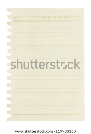 Blank note paper isolated on white background.