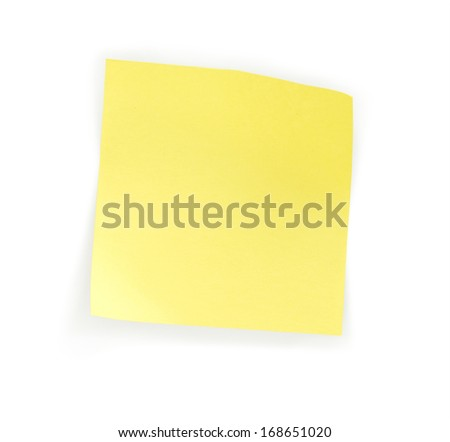 Blank note paper on white background