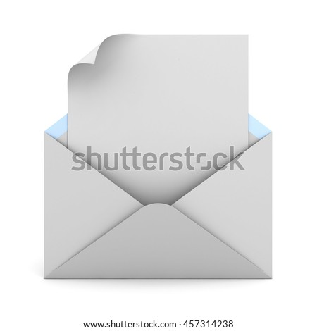 Blank note paper with page curl in white envelope isolated on white background with shadow. 3D rendering.