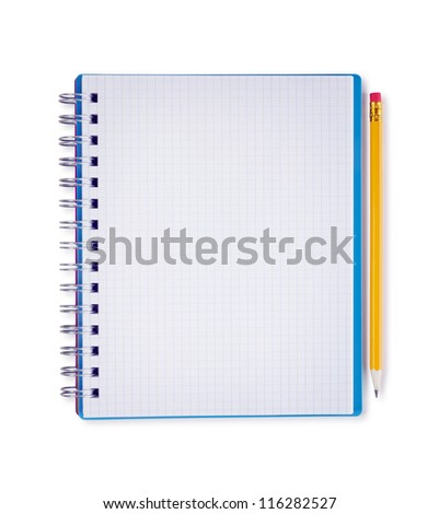 Blank notebook and pencil, isolated on white with clipping path