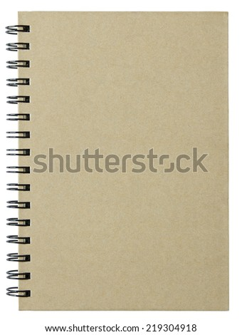 blank notebook cover isolated on white background with clipping path