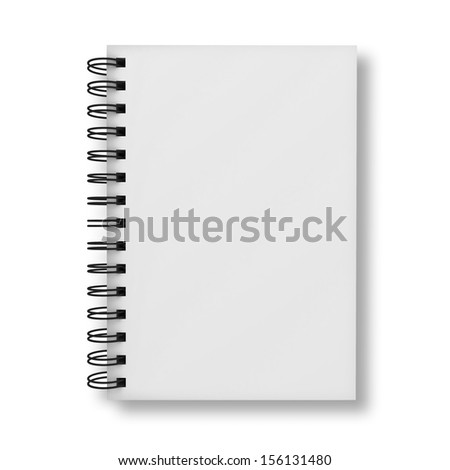 Blank notebook cover isolated over white background - stock photo