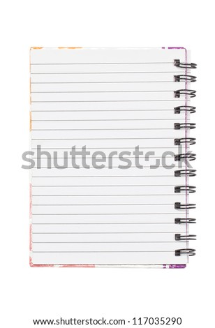 Blank notebook isolated on white background.