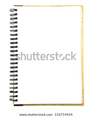 blank notebook isolated with clipping path - stock photo