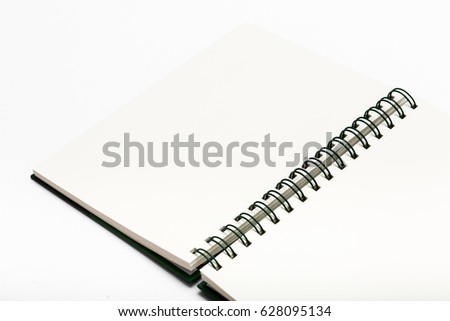 Blank notebook on white back ground.