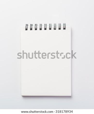 Blank Notebook on white background - stock photo