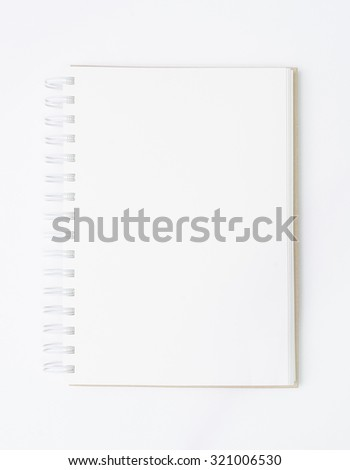 Blank notebook on white background with area for copy space. - stock photo