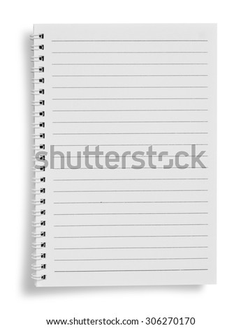 Blank notebook on white background with soft shadows.  - stock photo