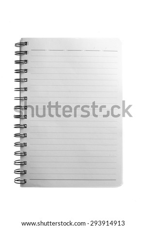 blank notebook paper on white background