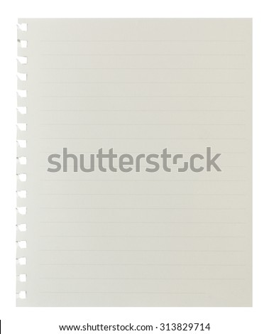Blank Notebook Paper with lined Background or Texture. Clipping Path