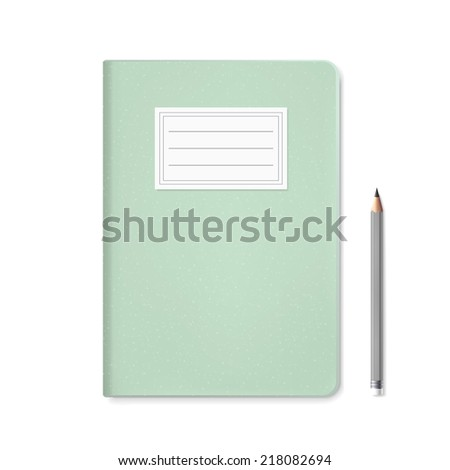 blank notebook template and pen isolated on white