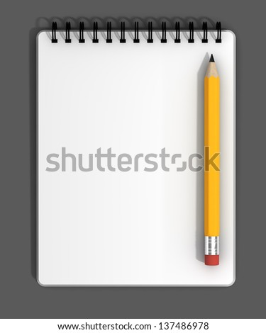 Blank notebook with black spiral bindings and a pencil.