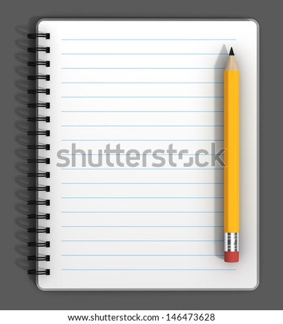 Blank notebook with black spiral bindings and a pencil.  - stock photo
