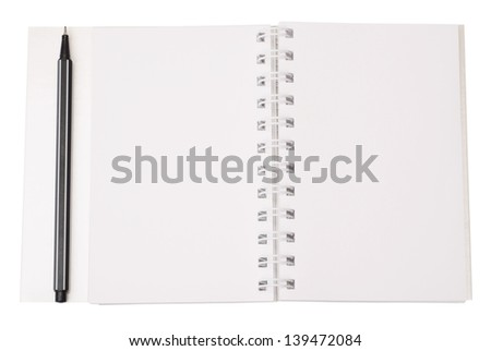 blank notebook with pen isolated on a white background - stock photo