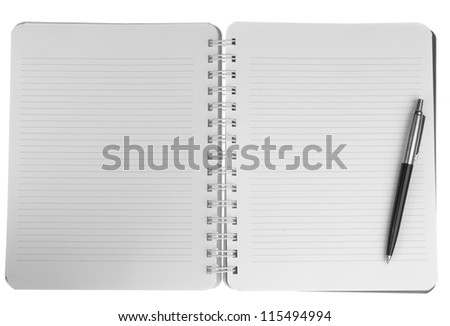 Blank notebook with pen. isolated on white. - stock photo