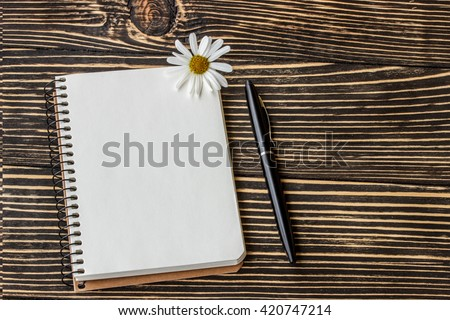 blank notebook with pen on wooden table - stock photo