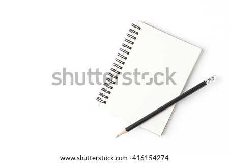 Blank notebook with pencil isolated on white background. - stock photo