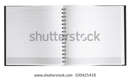 Blank notebook with spiral for background, isolated path - stock photo