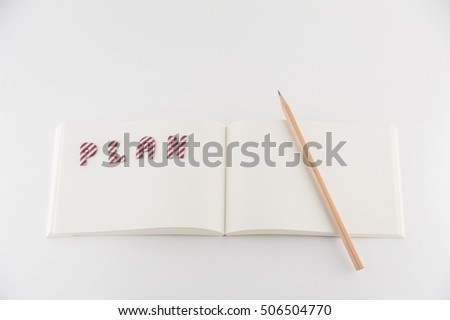 Blank notebook with text Plan and wood pencil on white background