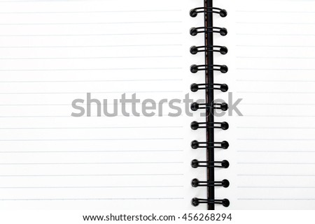 Blank notebook with white page