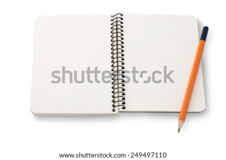 Blank notepad and a pencil on the white background  - stock photo