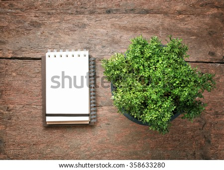 Blank notepad and flower pot.Top view with copy space. - stock photo