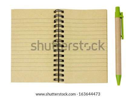 Blank notepad and pen isolated on a white
