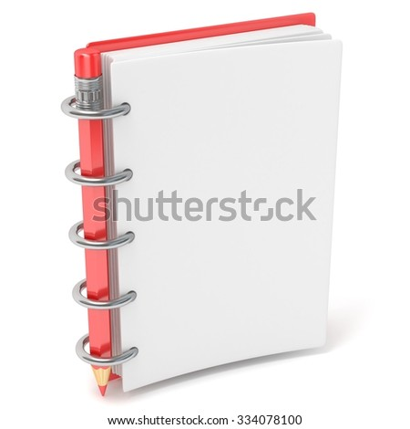 Blank notepad and pencil. 3D render illustration isolated on white background - stock photo