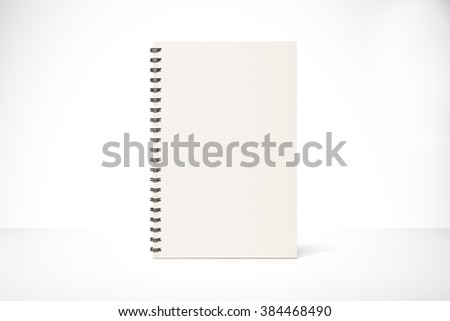 Blank notepad cover on white table, mock up - stock photo